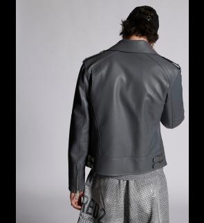 Grey DSQUARED2 Leather jacket