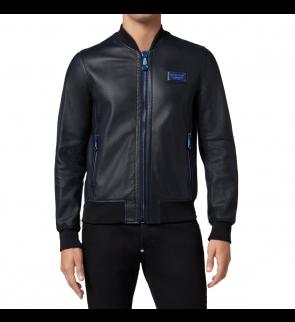 Black Blue PHILIPP PLEIN Leather jacket