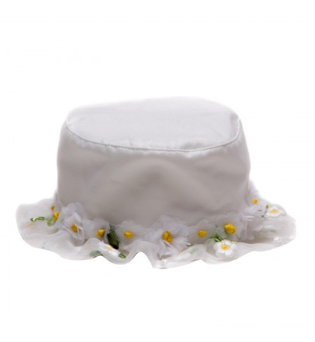 White with Flowers MONNALISA Hat