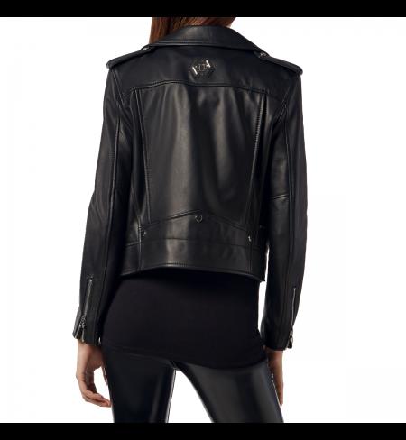 Black PHILIPP PLEIN Leather jacket