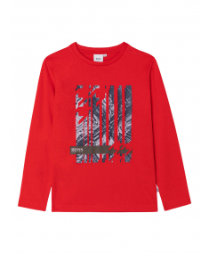 Red HUGO BOSS T-shirt with long sleeves