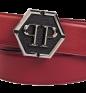 """Respected"" Red+Black/Black Nickel PHILIPP PLEIN Belt"
